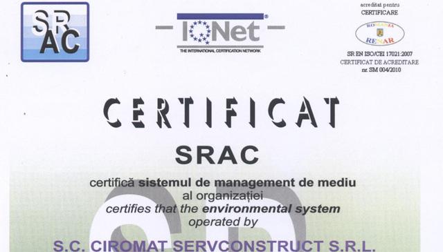 Certificat SRAC, certifica sistemul de management de mediu al organizatiei Ciromat Servconstruct, conform conditiilor din standardul ISO 14001:2005