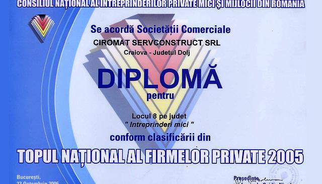 Locul 8 pe judet conform clasificarii din Topul National al firmelor provate 2005. Diploma oferita de Consiliul National al intreprinderilor private mici si mijlocii din Romania