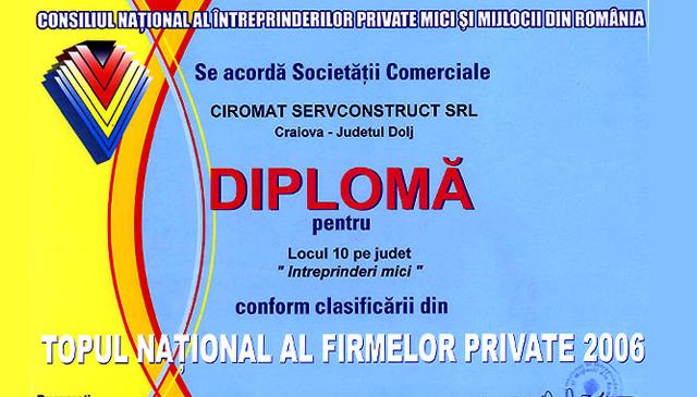 Locul 10 pe judet la categoria Intreprinderi Mici conform clasificarii din Topul National al firmelor private 2006. Diploma oferita de Consiliul National al intreprinderilor private mici si mijlocii din Romania.