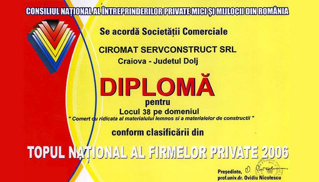 Locul 42 pe domeniul Comert cu ridicata al materialului lemons al materialelor de constructii in Topul National al firmelor private 2006. Diploma acordata de Consiliul National al intreprinderilor private mici si mijlocii din Romania